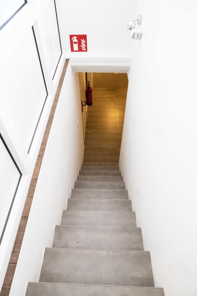 Treppen zum Keller mit Lager-, Serverraum und WC